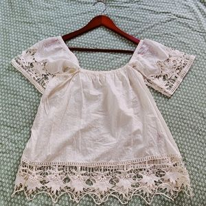 Like New Roxy White Lacey Top